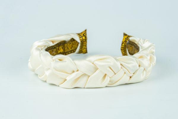 Lila Ivory Satin Plaited Headband
