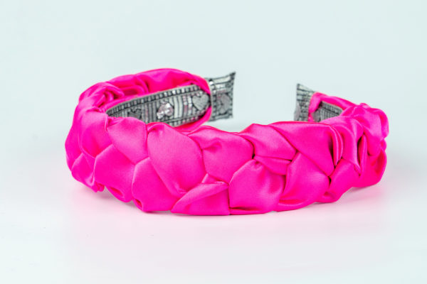 Lila Fuchsia Satin Plaited Headband