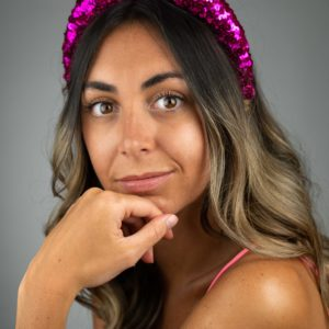 Lila Hot Pink Sequin Padded Headband