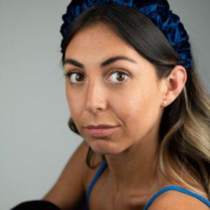 Lila Navy Velvet Ruffle Headband