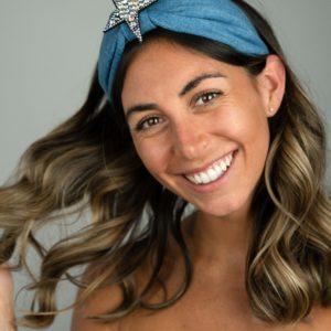 Lila Denim Star Bow Headband