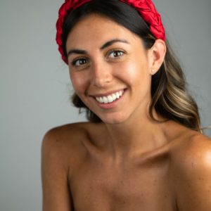 Lila Satin Red Plaited Headband