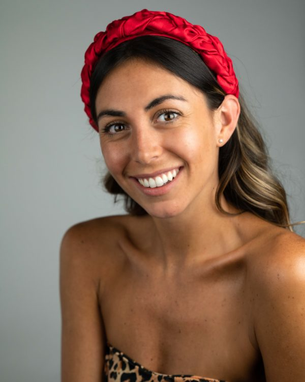 Lila Satin Red Plaited Headband