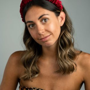 Lila Red Velvet Ruffle Headband