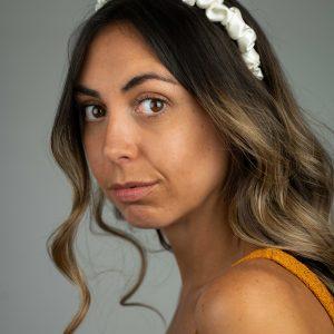 Lila Thin Ivory Ruffle Headband