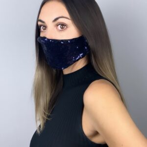 Lila Navy Sequin Face Mask