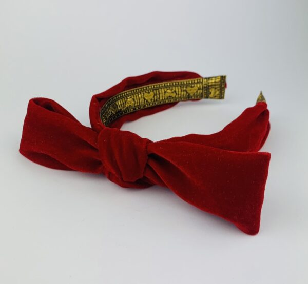 Lila Red Velvet Bow Headband