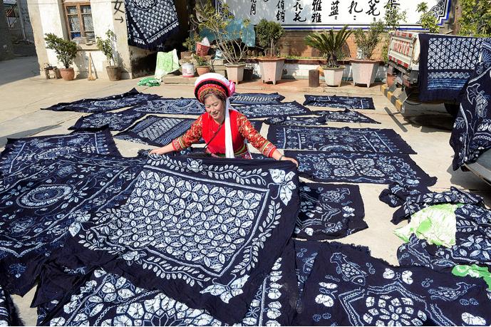 Séchage du tissu batik