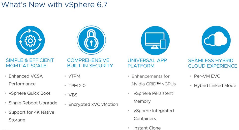 VMware vSphere 6.7 what's new