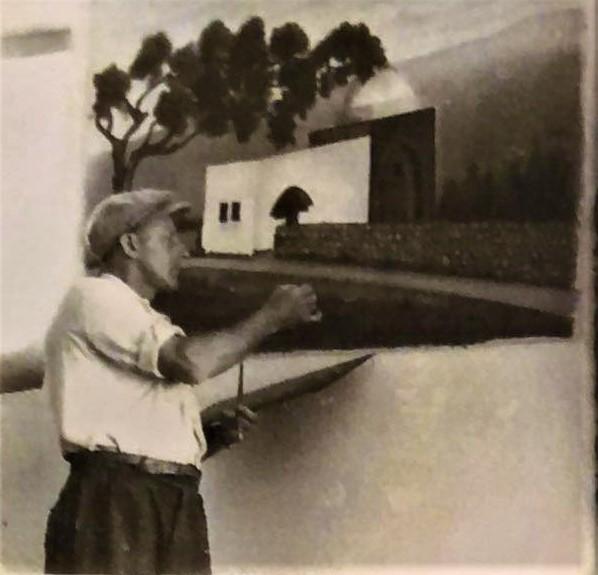 בן אורי מצייר בבית הכנסת הארי של האשכנזים. מצד אחד של ארון הקודש הוא צייר את קבר רחל ומצד שני את הכותל המערבי. 1940-41.