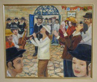 שירים וריקודים בבית עבו, ציור שמן יהודית עבו עברון