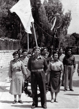 Raphael Abbo leading the Haga civil guard parade in Safed, 1949.