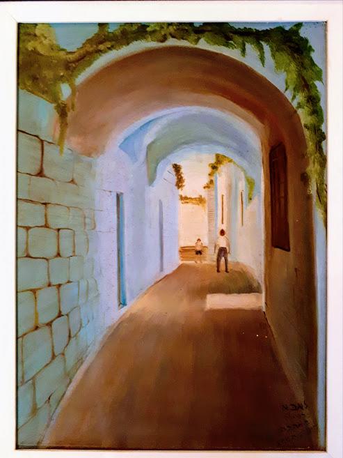 צפת העתיקה - הבית של בן אורי - מימין, ציור רפאלה עבו עברון