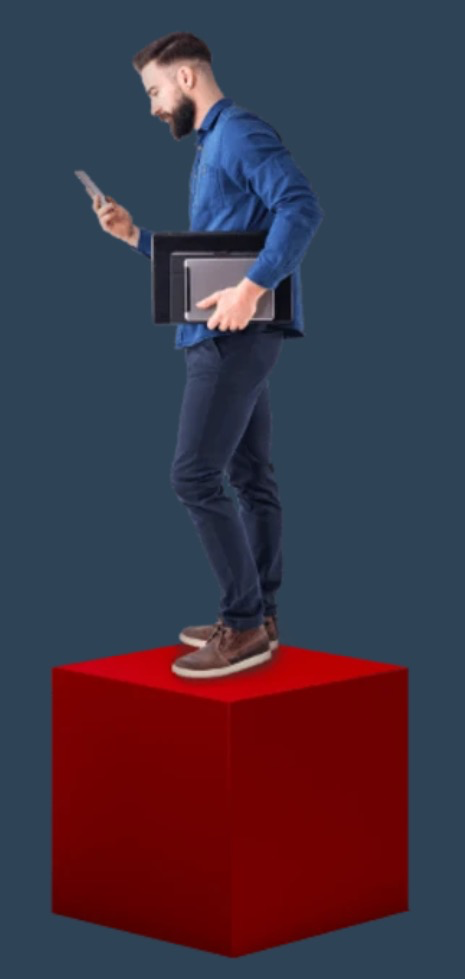Man on a red cube