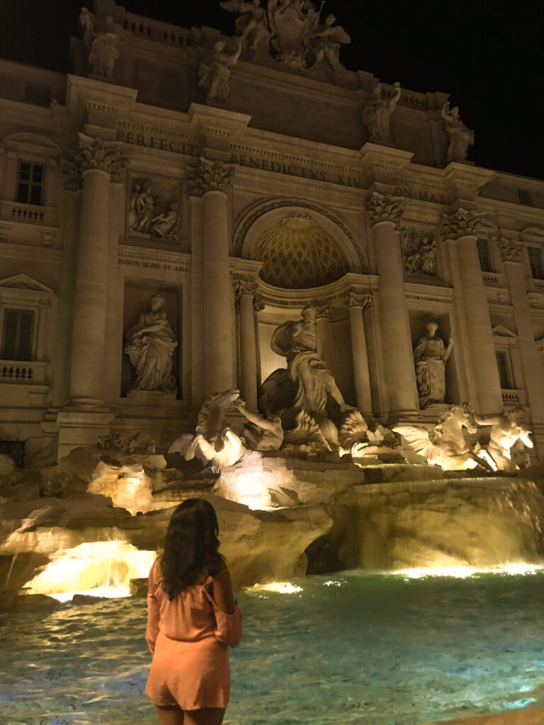 The Trevi Fountain in Rome all lit up at night