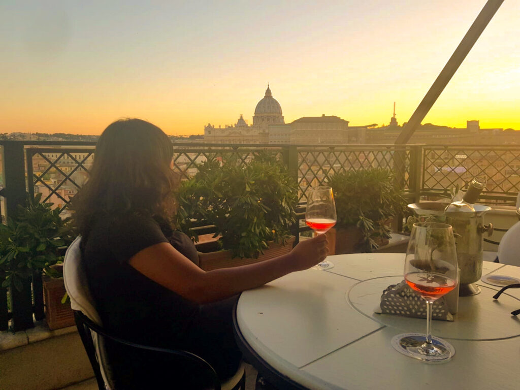 Sunset View from Les Étoiles Terrace in Rome