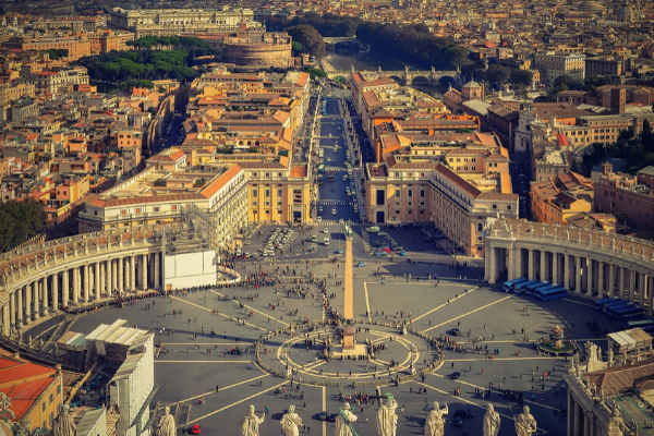 Best view in Rome from the dome of St. Peter's Basilica