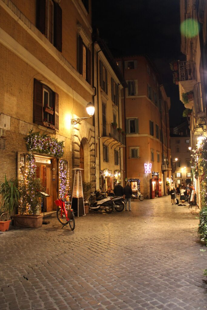 Beautiful streets of Rome at night