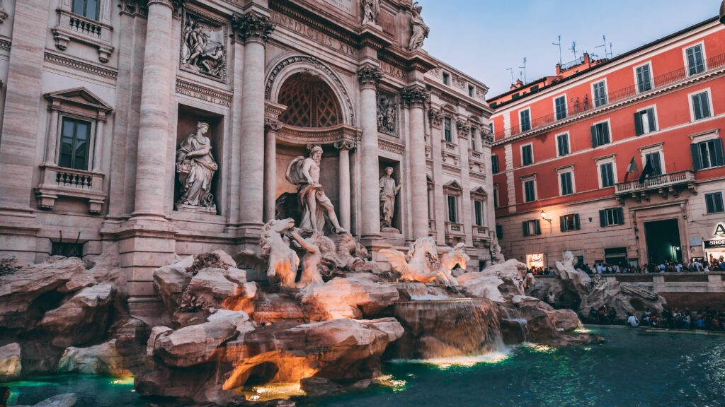 View of the Trevi Fountain at night. This is among my favorite things to do in Rome