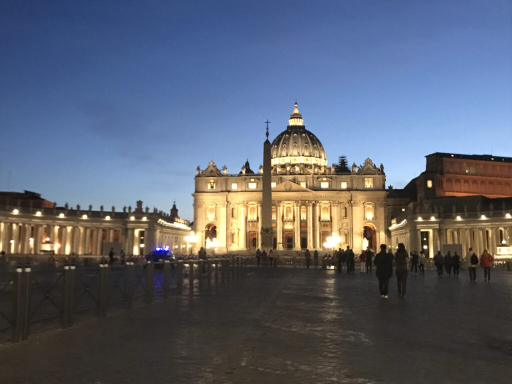 Night view of St. Peter's Square at night