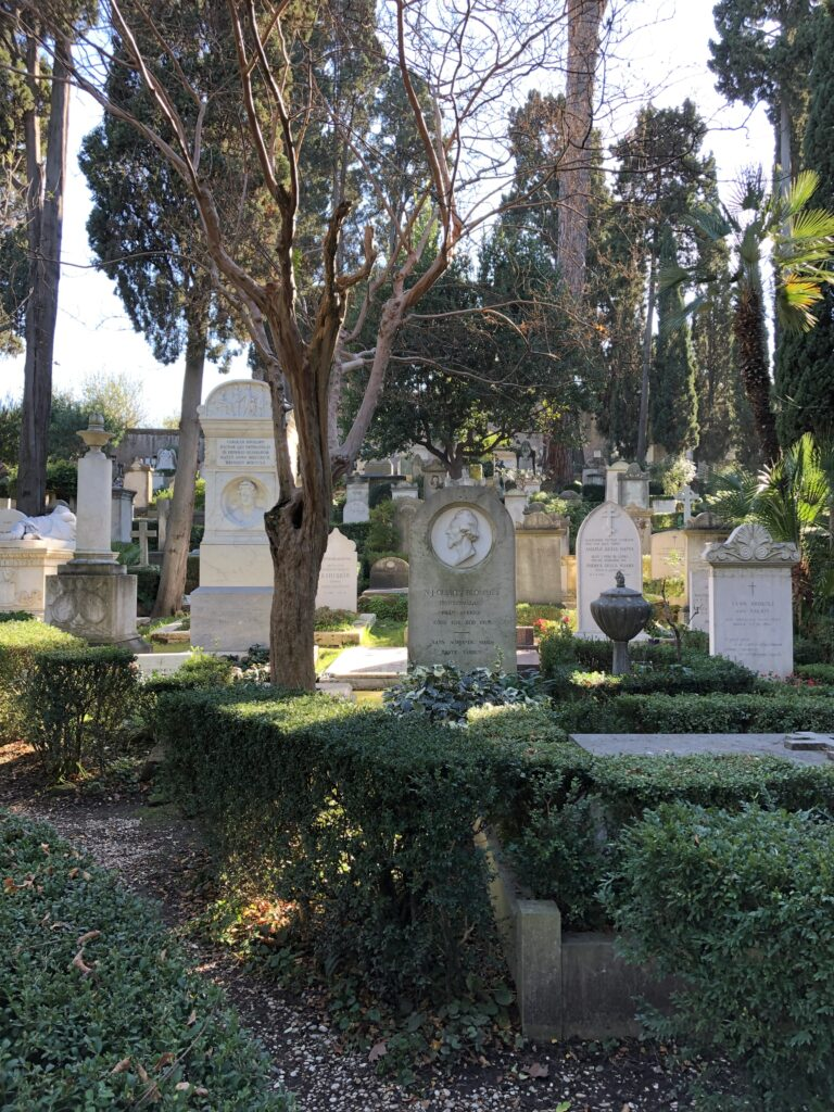 View of the tombs in the non-catholic cemetery in Rome