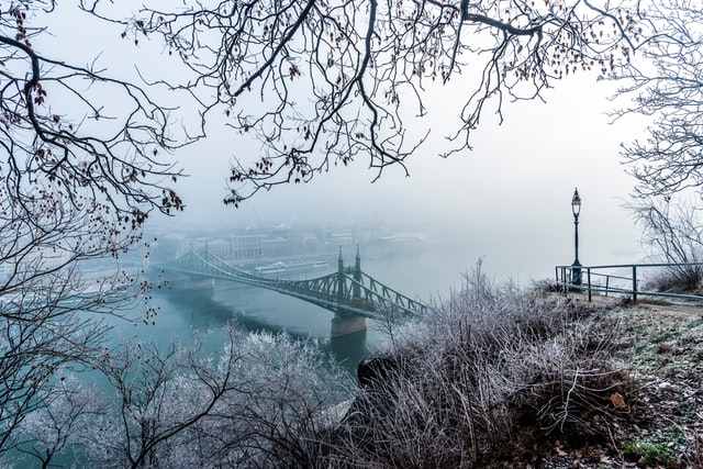 Budapest with snow for a white christmas in europe