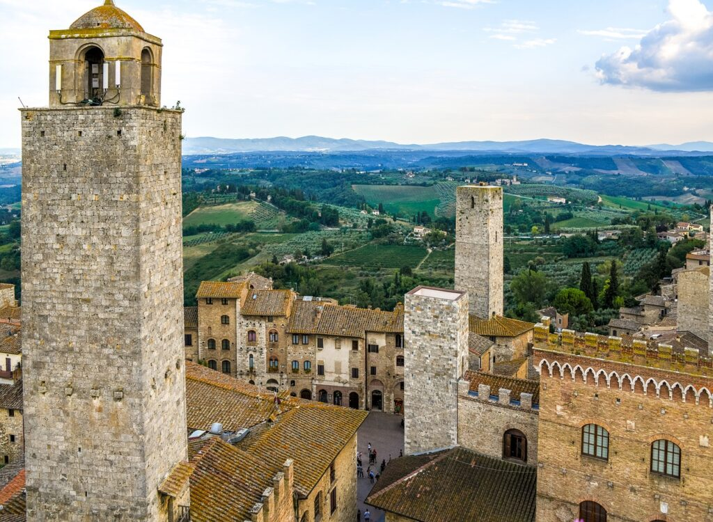 View of San Gimignano and the Tuscany countryside