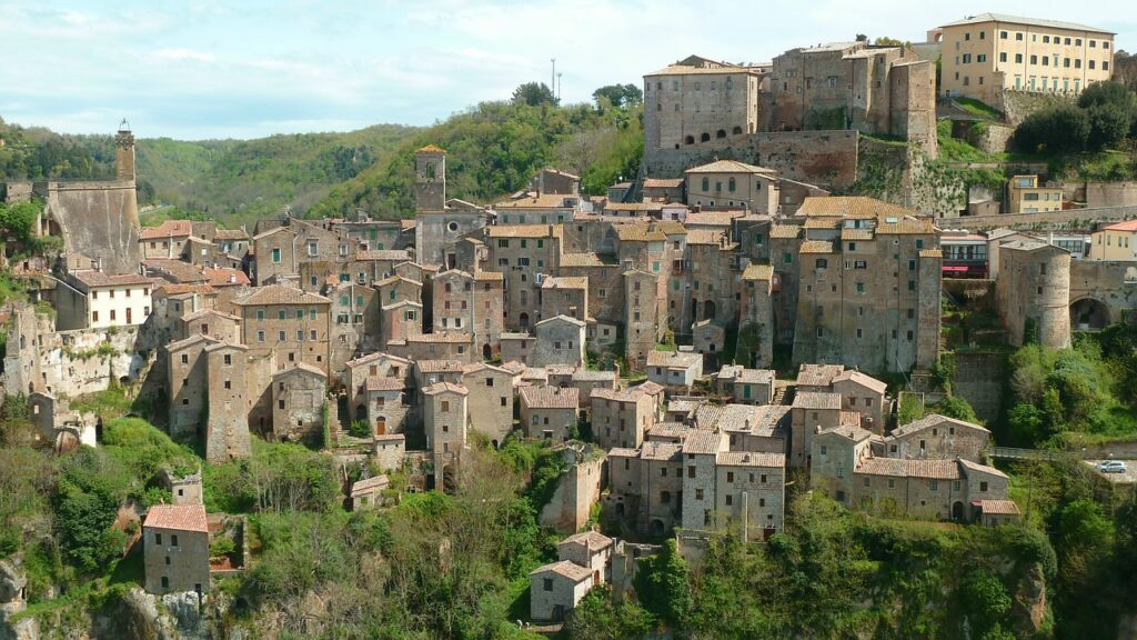 View of the hidden gem, Sorano in Tuscany