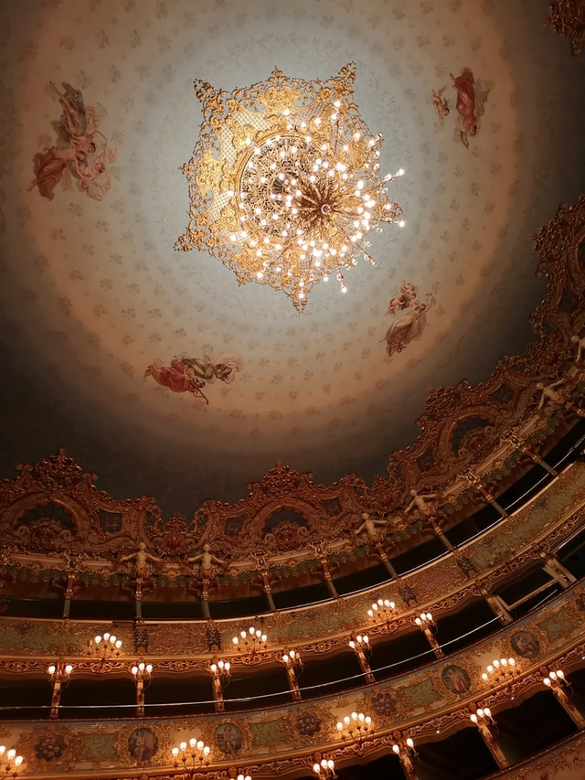Inside of the theatro la Fenice in Venice
