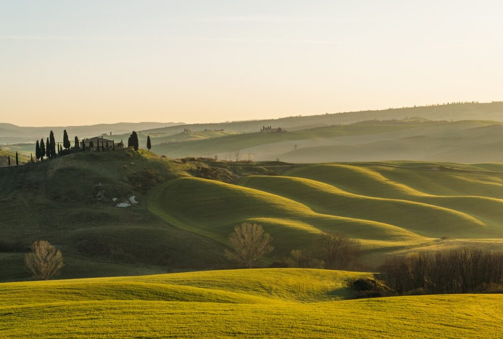 typical Tuscany hills in Val D'Orcia