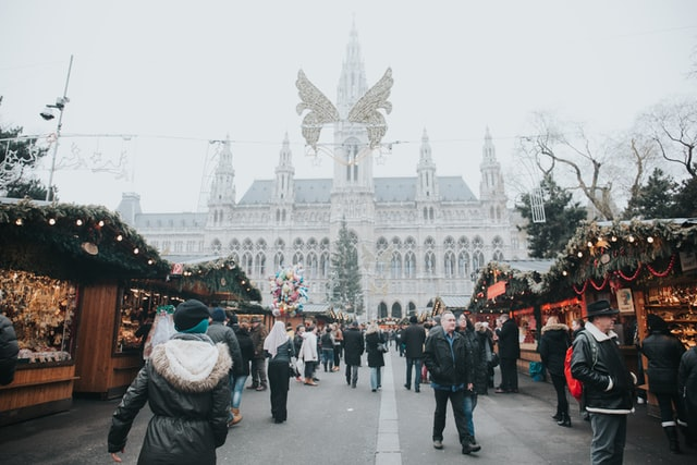 Vienna Christmas Market with snowfall