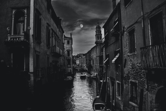 View of the venice canals at night