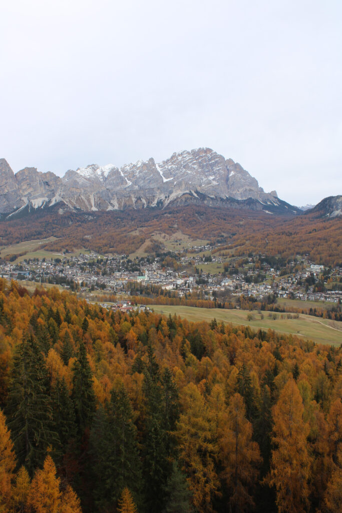 View of the city of Cortina d'Ampezzo from a view point