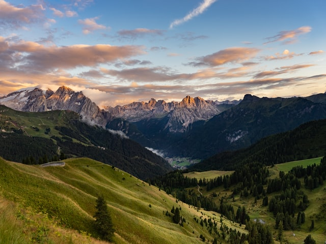 Beautiful view of the valley from Passo Sella