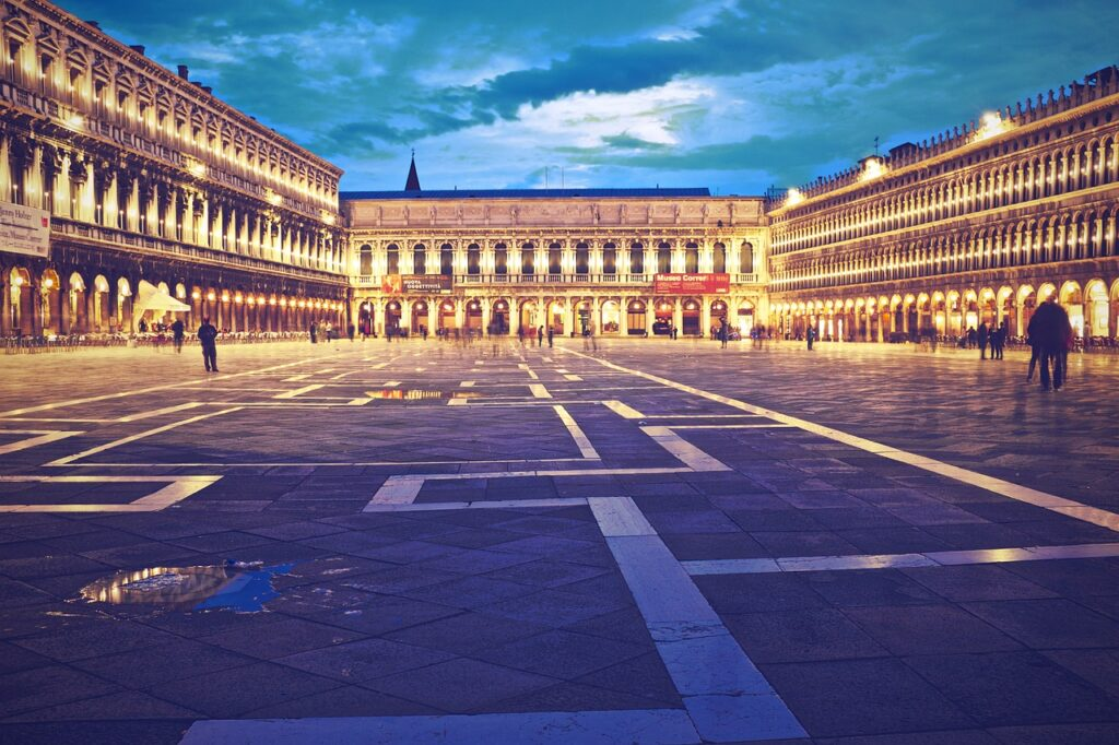 Beautiful evening view of the St. Mark's Square, another fun thing to do in Venice in two days