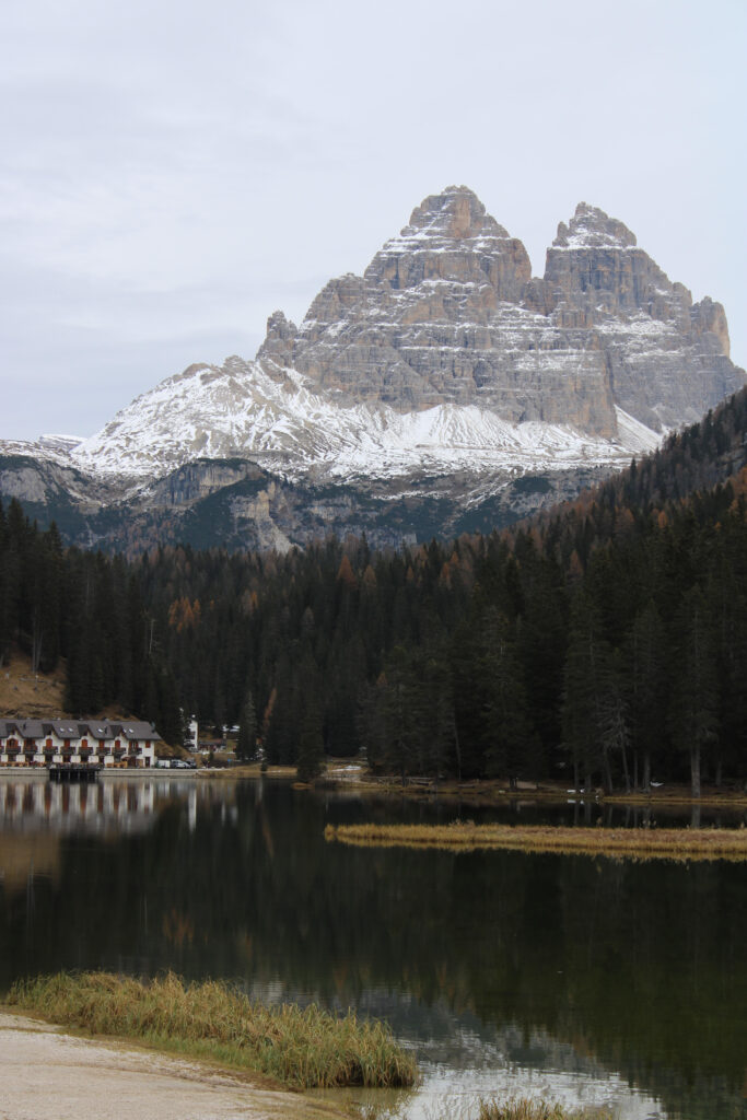 Beautiful view of the Tre Cime di Lavaredo from Misurina lake