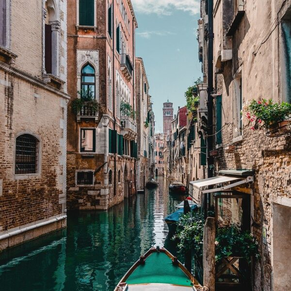 Beautiful canal view of Venice from a Gondola