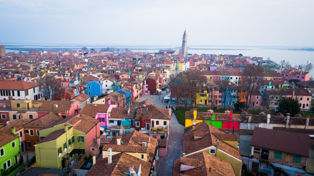View of the colourful island of Burano, one of the top things to do in Burano
