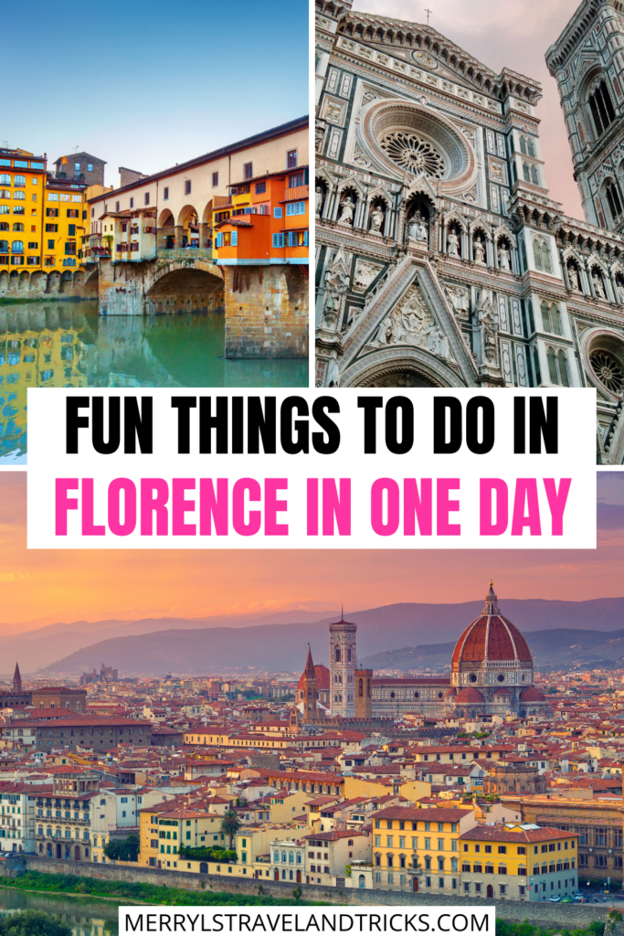 Picture collage of different things to do in Florence in one day