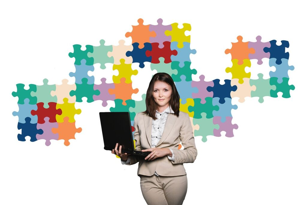 businesswoman, business, puzzle