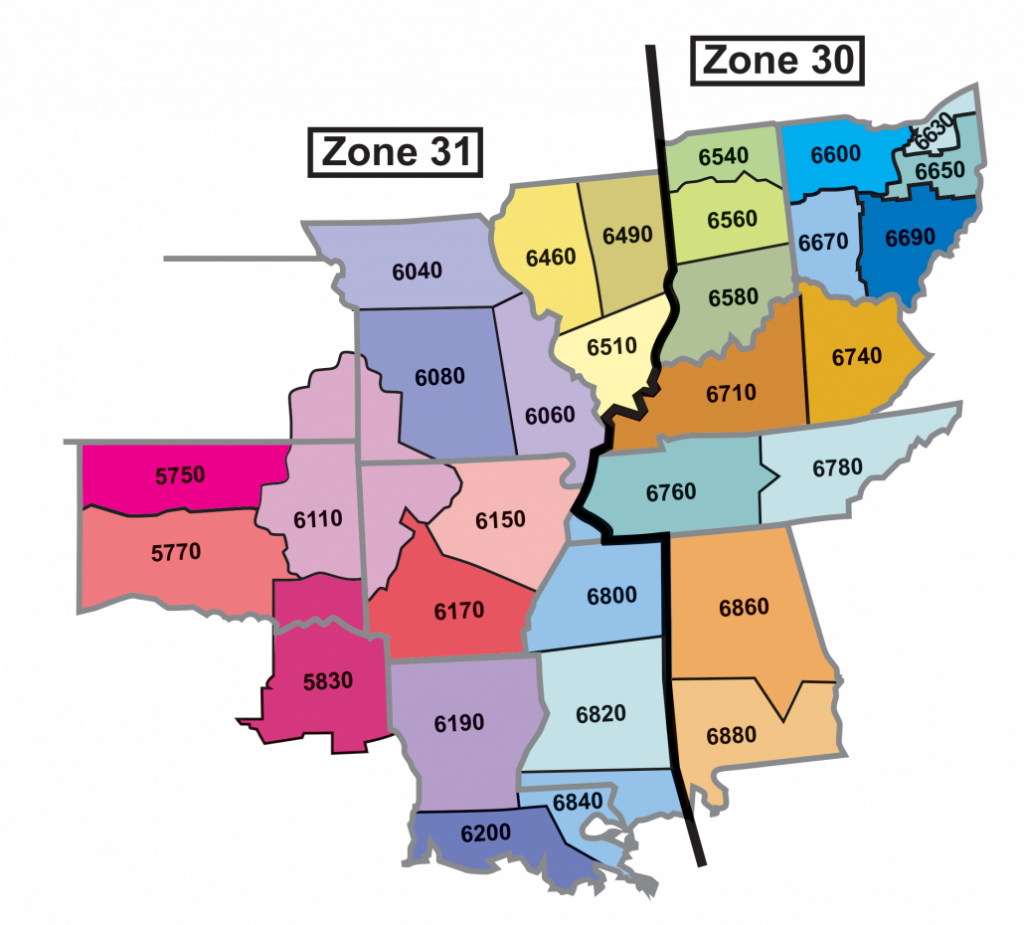 Rotary Zone 30 and 31 Map of southern rotary districts