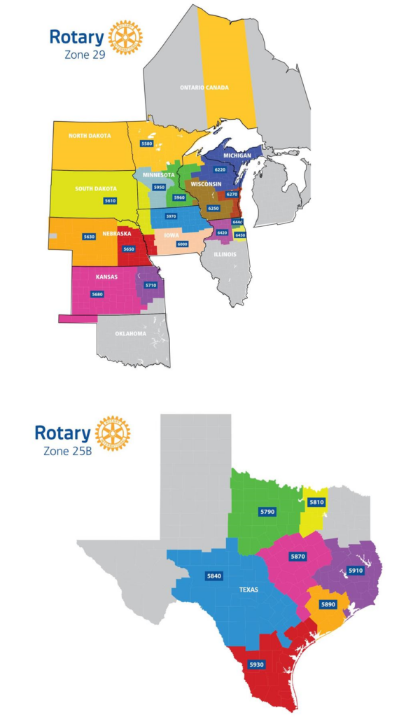 Rotary Zone 25B and 19 Map of part of Texas and most of the midwestern states in the US