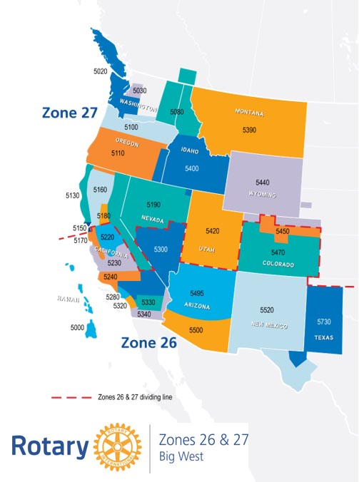Rotary Zone 26-27 Map of the western United States