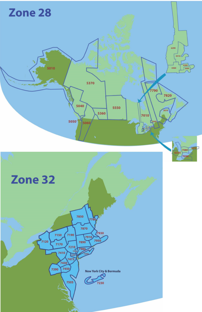 Rotary Zone 28 and 32 Map of Northeast US and Canada