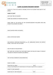 corinium care accident report form