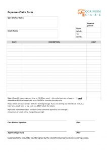 corinium care expenses claim form expenses form