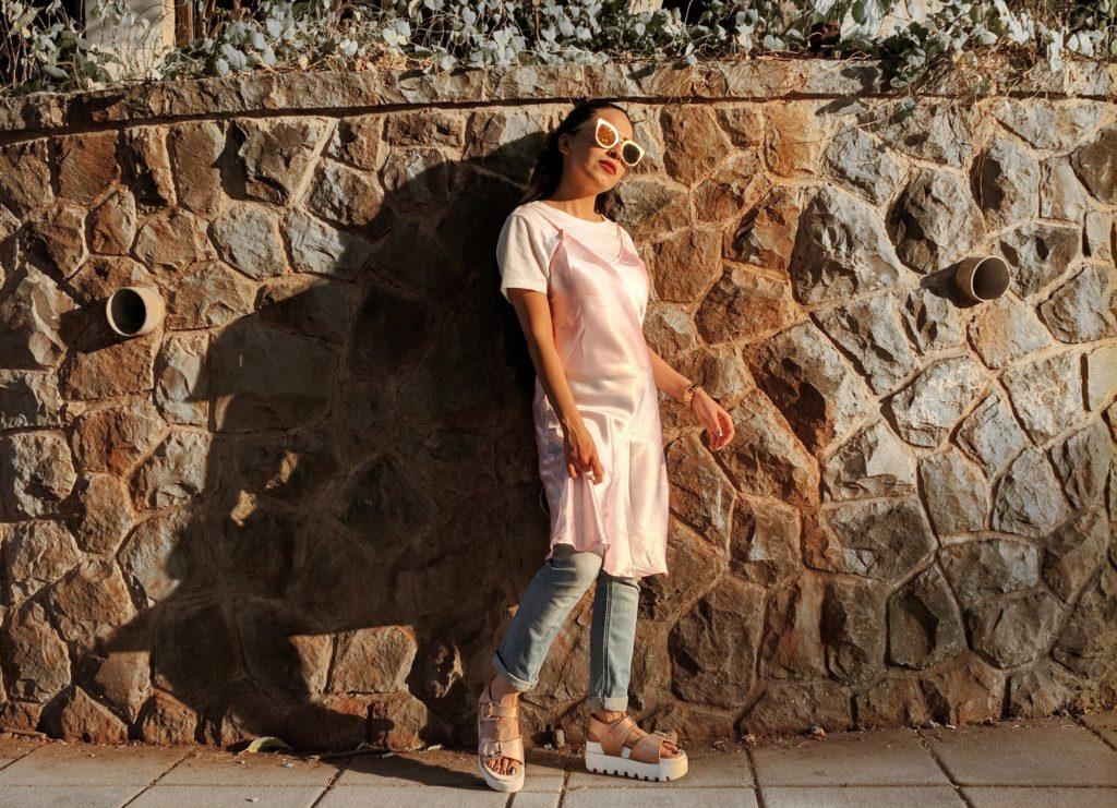 pink slip dress, dress over jeans, slip dress, white t-shirt, street style, indian fashion blogger