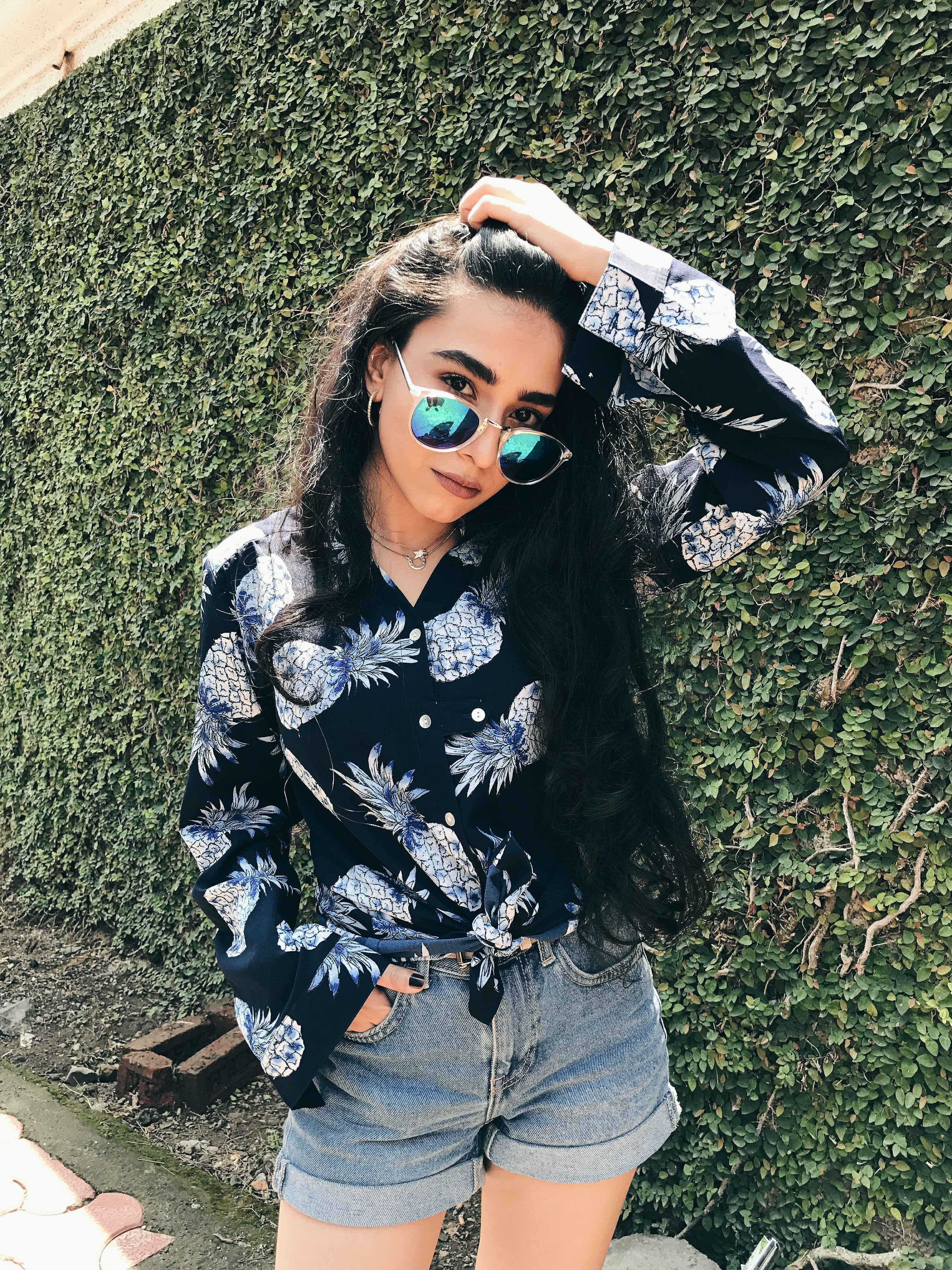 pineapple print shirt, blue shades, denim shorts, printed shirt, spring break, spring ootd,, street style, floral print, LA street style, fashion week
