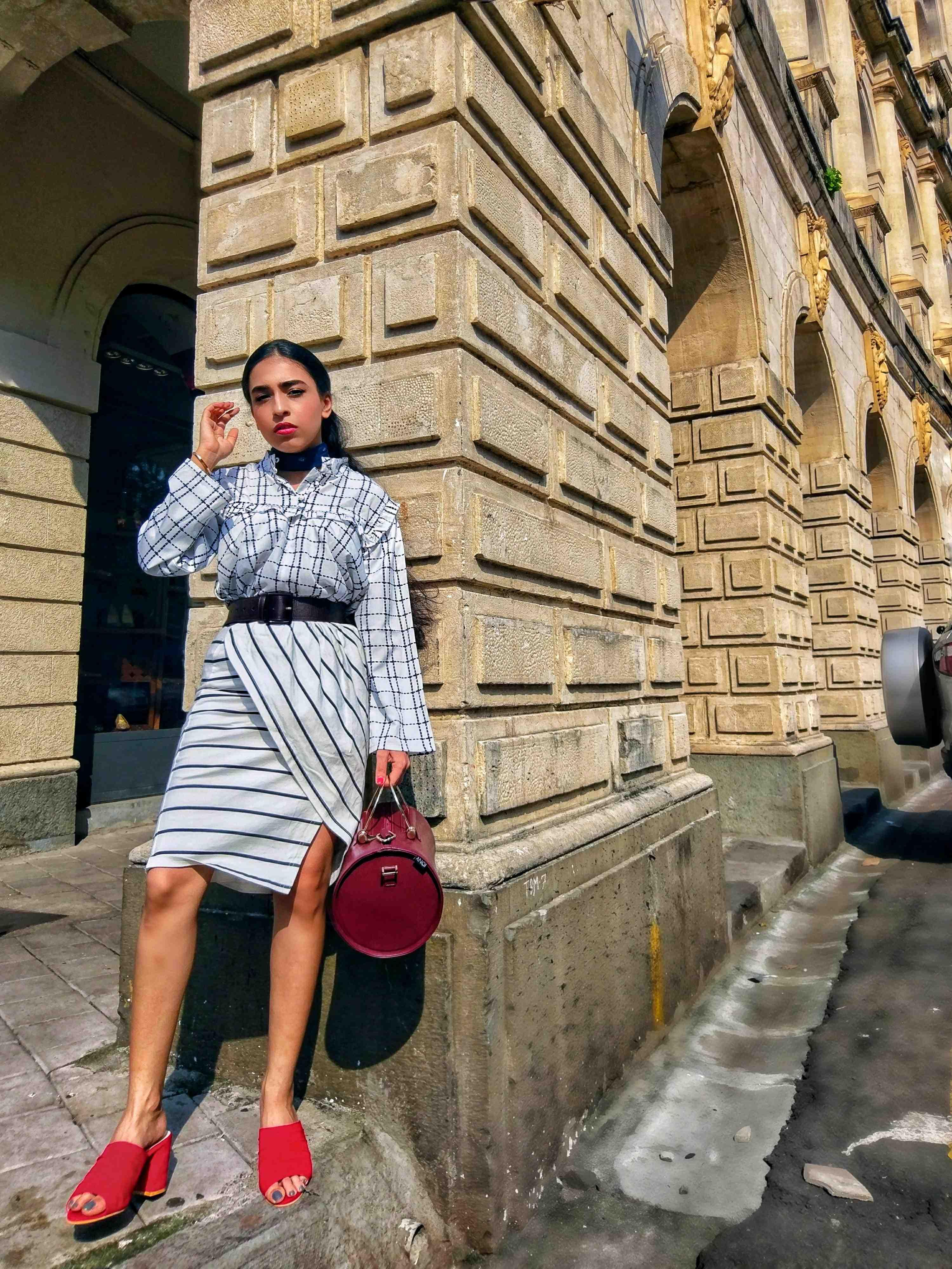 white shirt, checkered shirt, ruffled shirt, striped skirt, monochrome style, stripes checks, black and white style, street style, india fashion week