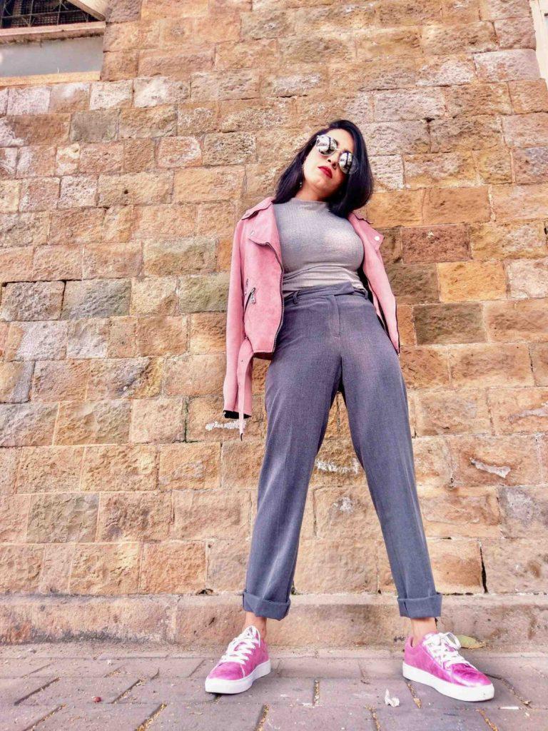 shein, shein india, neha menghwani, millennial pink, pink leather jacket, leather jacket, moto jacket, pink suede jacket, street style, mumbai fashion blogger, fashion blogger, vsco pink theme, fall fashion, winter fashion, fashion week